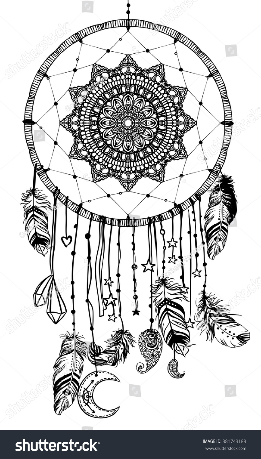hand drawn native american indian talisman stock vector 381743188