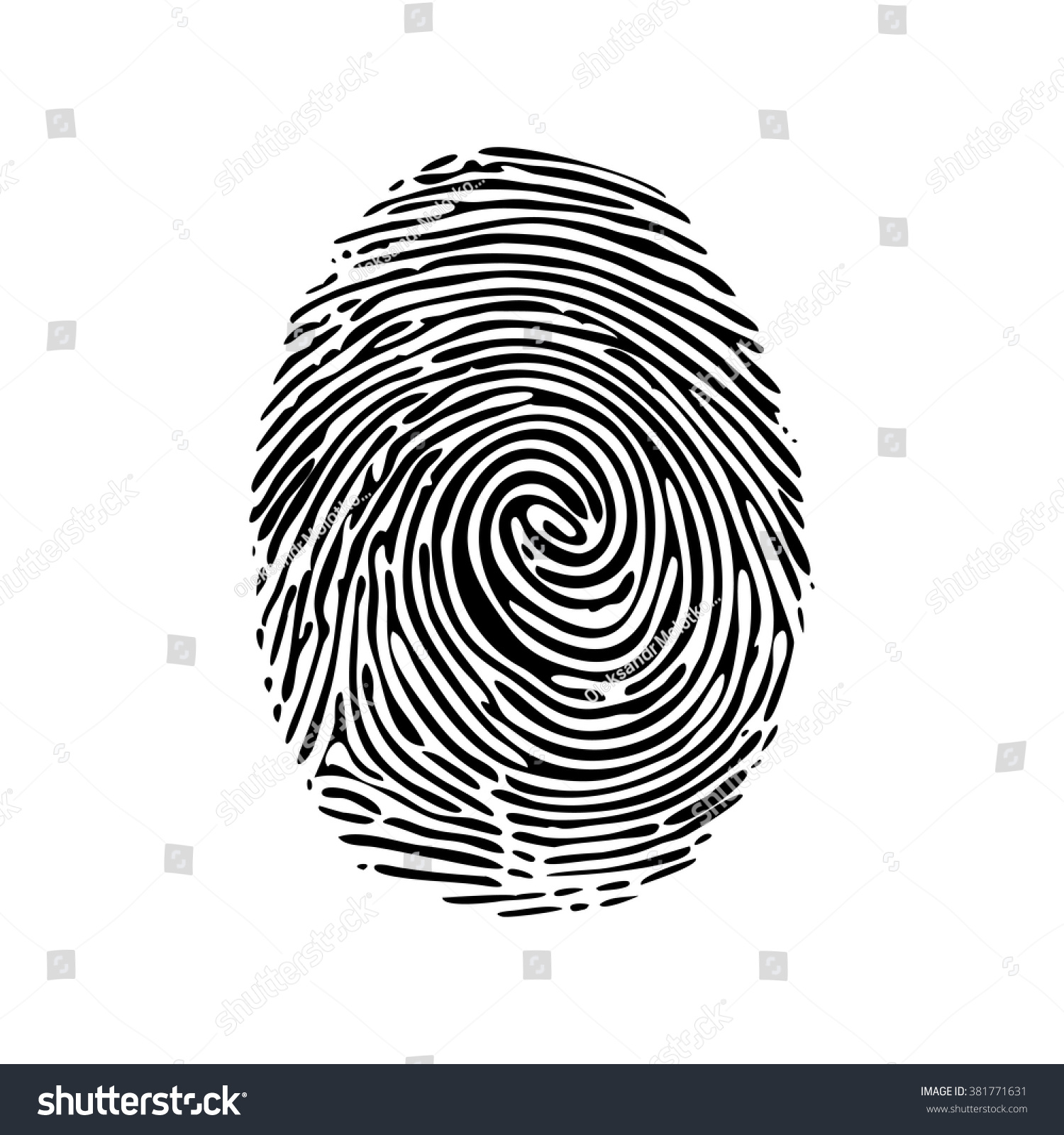 Realistic fingerprint isolated on a white background Fingerprint icon Black fingerprint Vector fingerprint Isolated on white