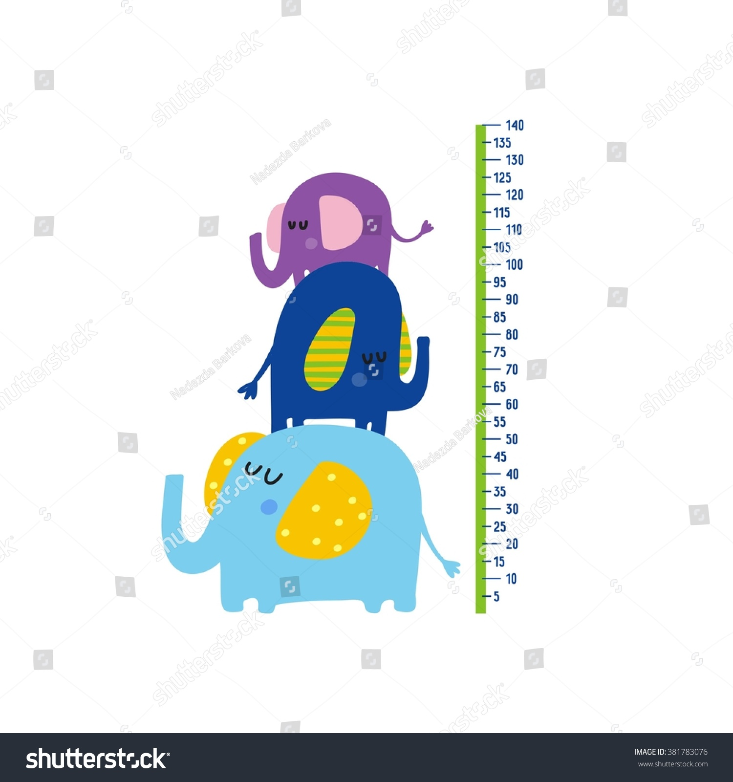 Cute Growth Charts Kids Vector Print Stock Vector Royalty Free