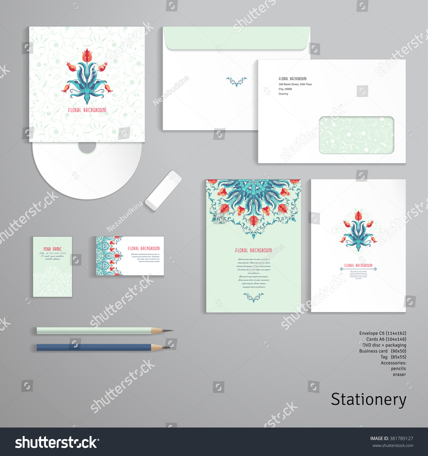 Vector Templates Envelope Cards Business Cards Stock Vector (2018 ...