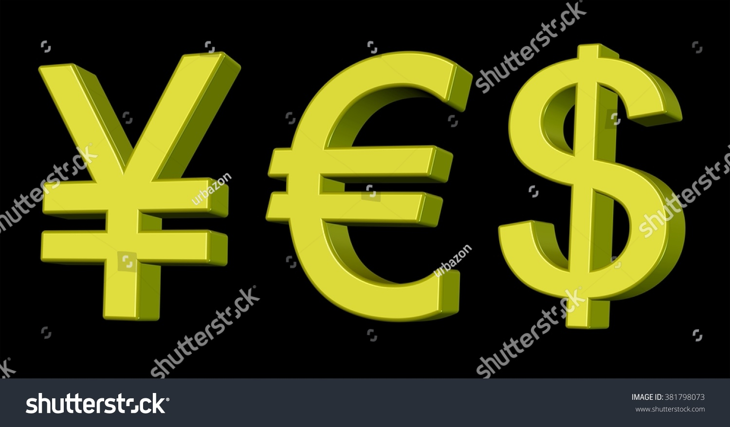 Golden 3d currency symbols for yen stock illustration 381798073 golden 3d currency symbols for yen euro and us dollar forming a word biocorpaavc Gallery