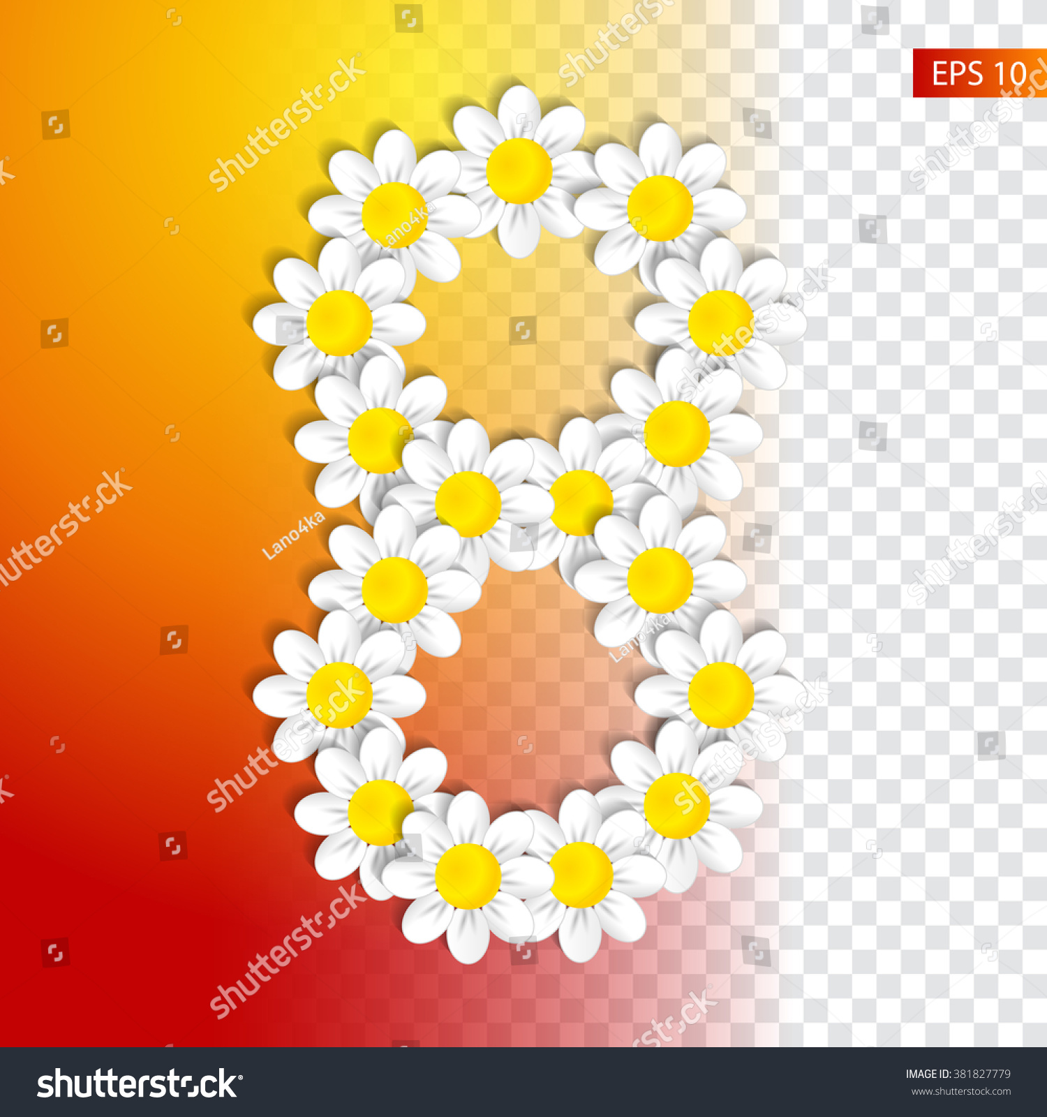 Eight Daisies On Transparent Background Template Stock Vector