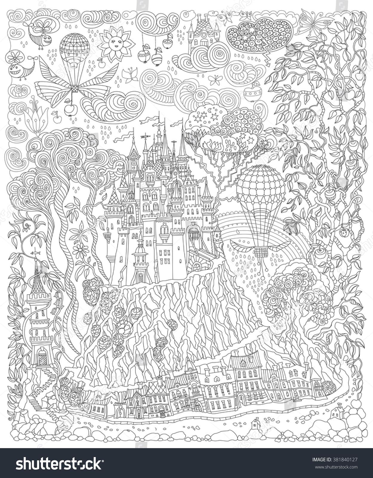 Coloring book page apple tree - Fantasy Landscape Fairy Tale Castle On A Hill Fantastic Apple Tree Garden Flower