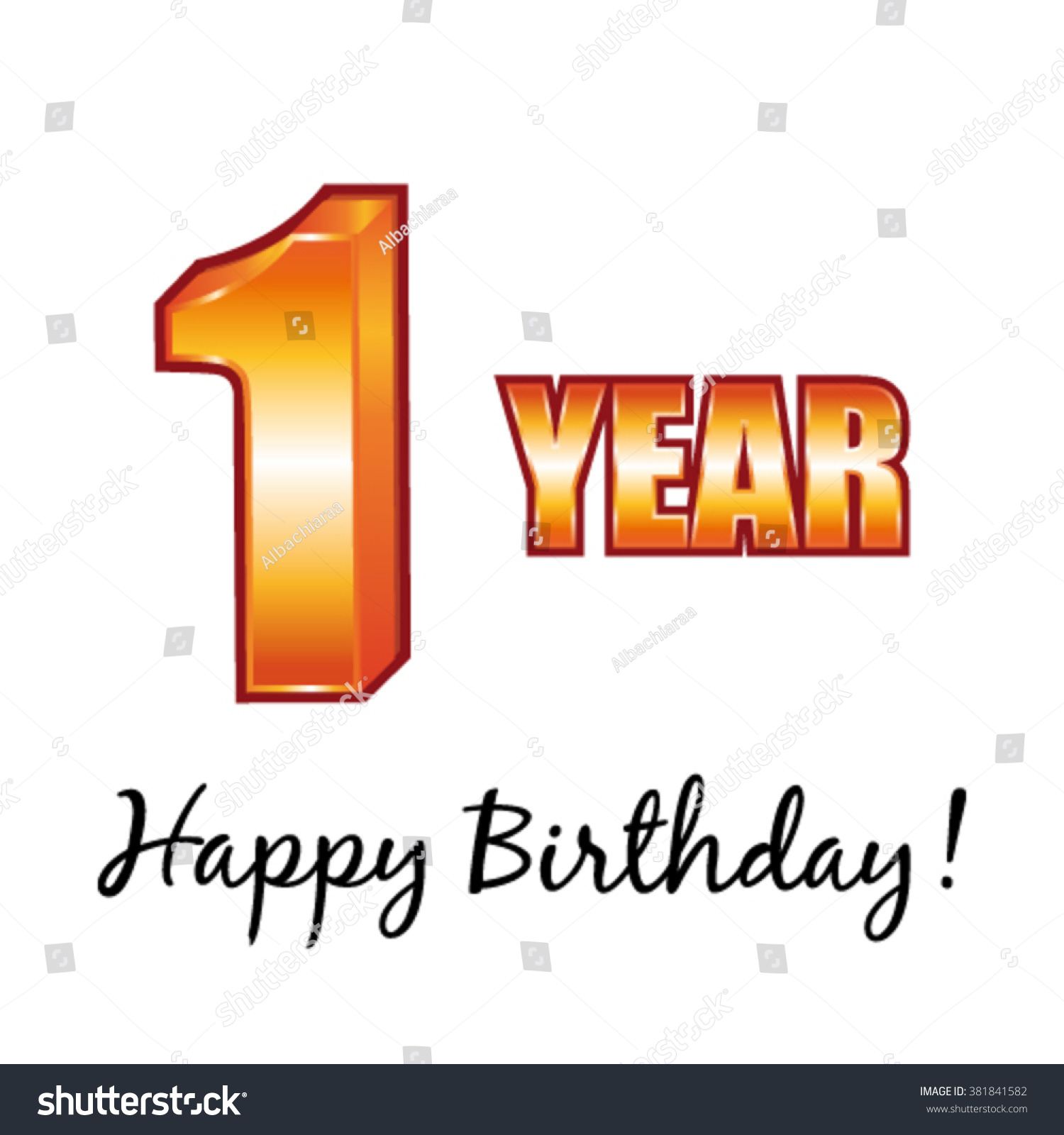 Happy Birthday 1 Year Old Vector Stock Vector Shutterstock