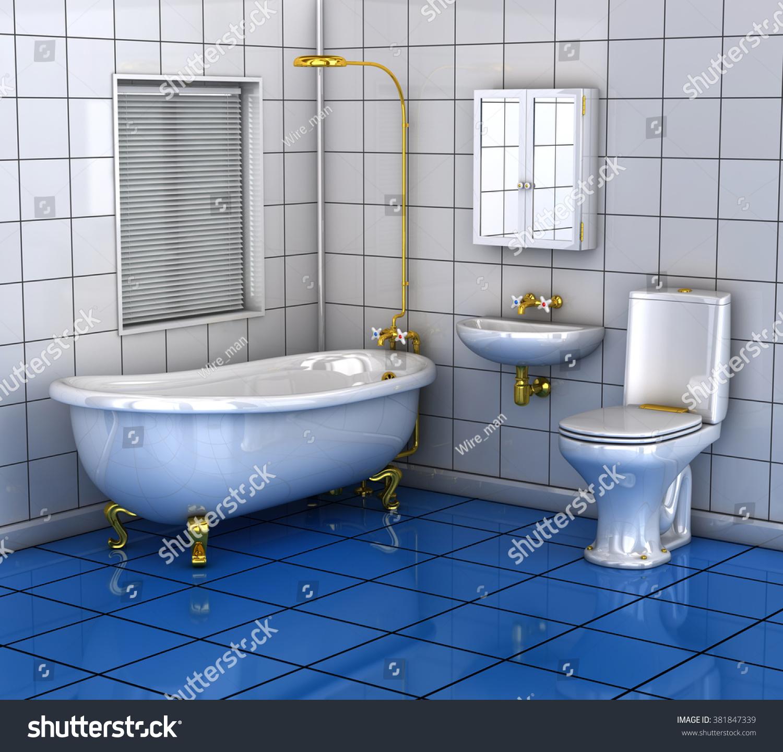 Bathroom Bath Toilet Wash Basin 3 D Stock Illustration 381847339 ...