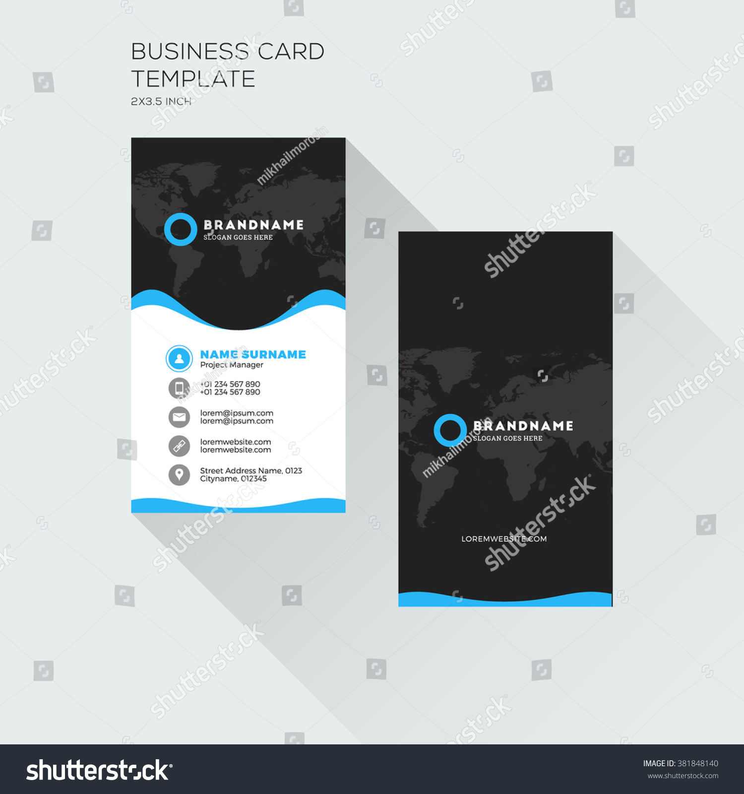 Vertical business card print template personal stock vector hd vertical business card print template personal visiting card with company logo black and blue fbccfo Choice Image