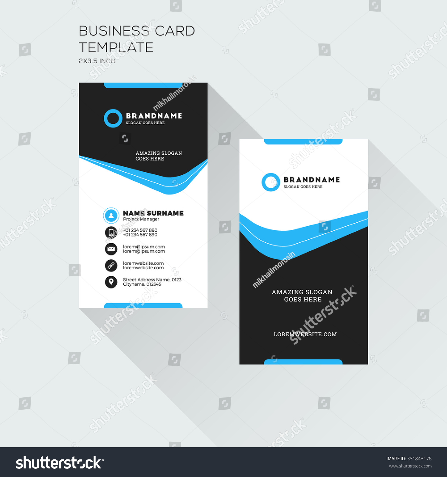 Vertical business card print template personal stock vector vertical business card print template personal visiting card with company logo black and blue magicingreecefo Gallery