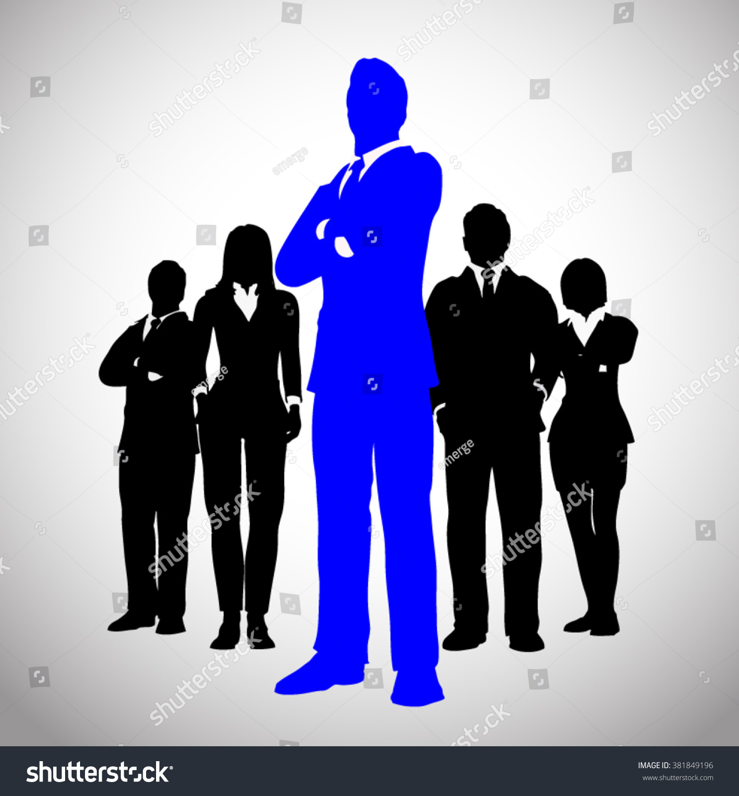 successful team leader blue team successful stock vector  successful team leader in blue a team of successful executives led by a great and