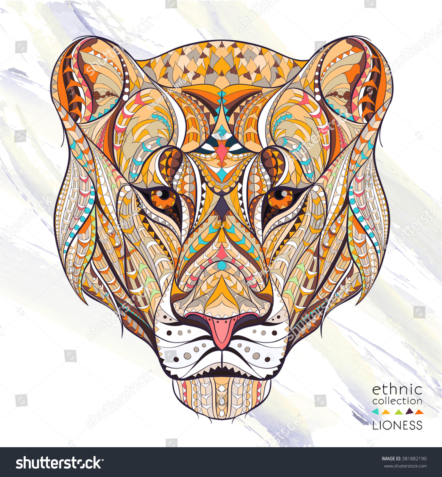 Patterned head of the lioness on the grunge background African indian totem tattoo design It may be used for design of a t-shirt bag postcard a poster and so on