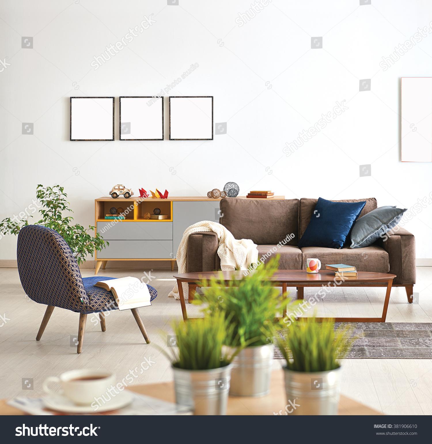 Modern Living Room Sofa Armchair Vase Stock Photo