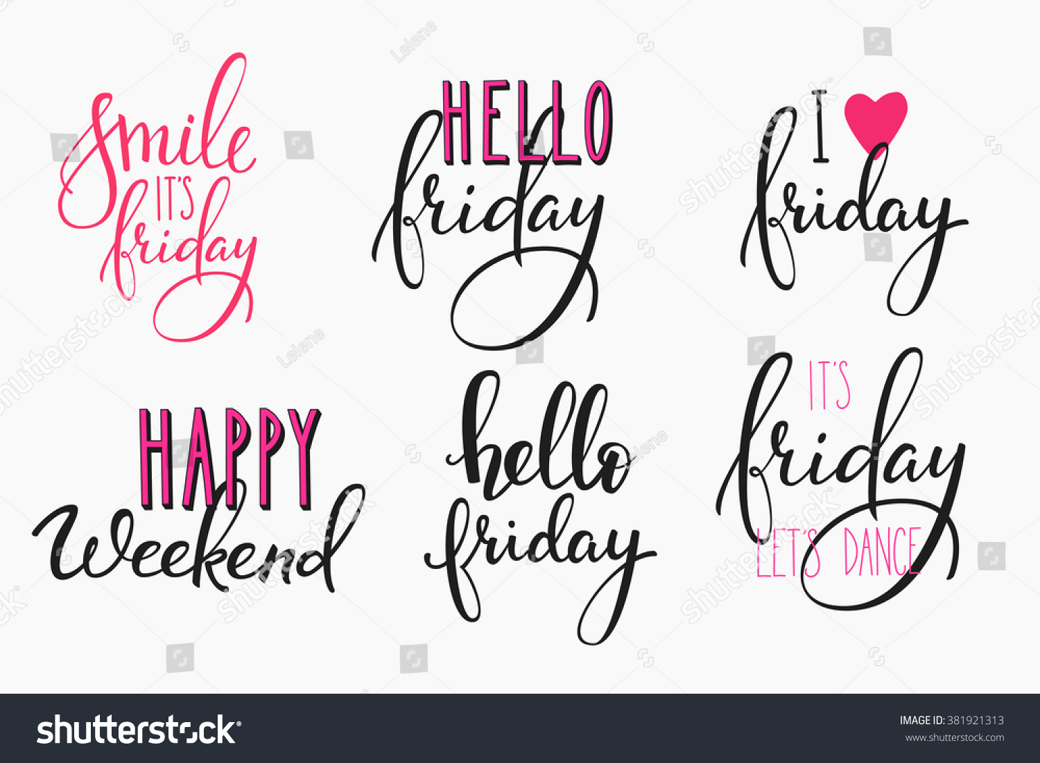 Hello Friday Lettering Sign Quote Postcard Stock Vector