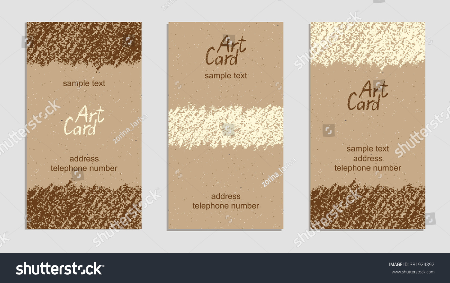 Set of vintage handmade business cards with hand drawing for Craft paper card stock