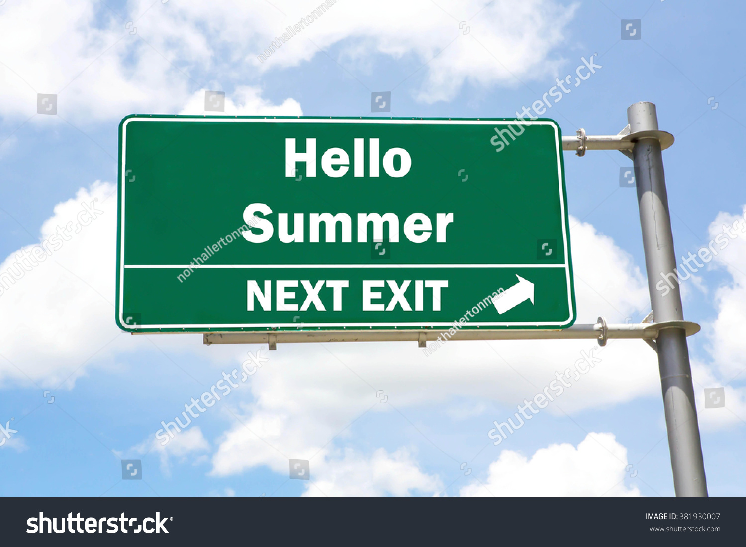 Green Overhead Road Sign With A Hello Summer Next Exit Concept Against A  Partly Cloudy Sky