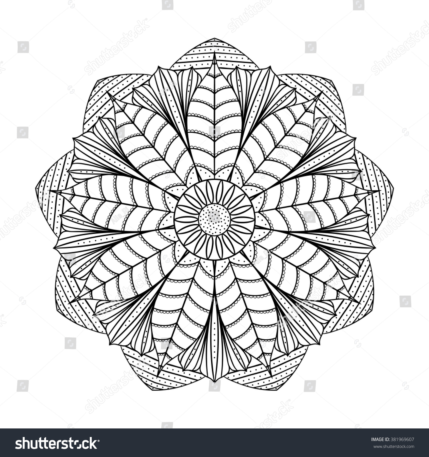 Magic Lotus Mandala Coloring Book Page Stock Photo (Photo, Vector ...