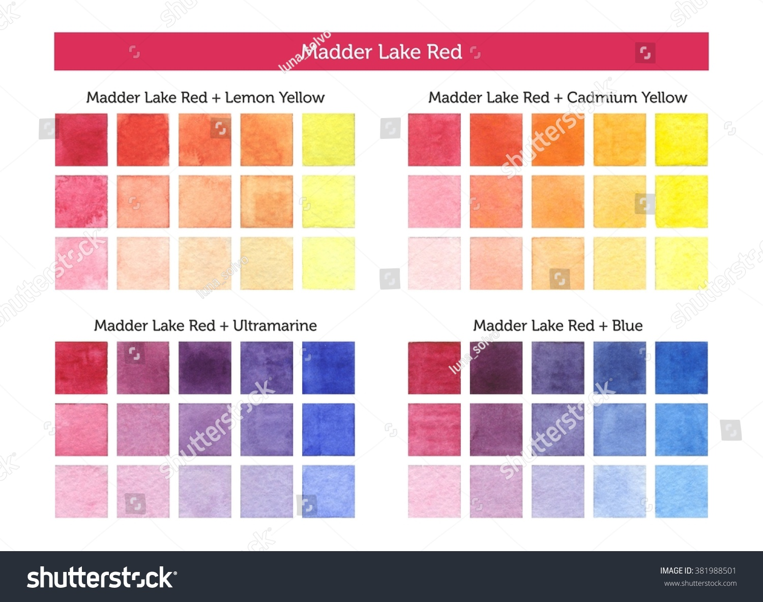 Color chart madder lake red mixing stock illustration 381988501 color chart of madder lake red mixing with others primary colors nvjuhfo Image collections