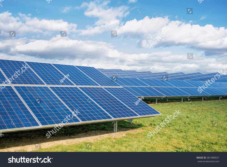 Solar farm green fields blue sky solar park sustainable for Solar ranch
