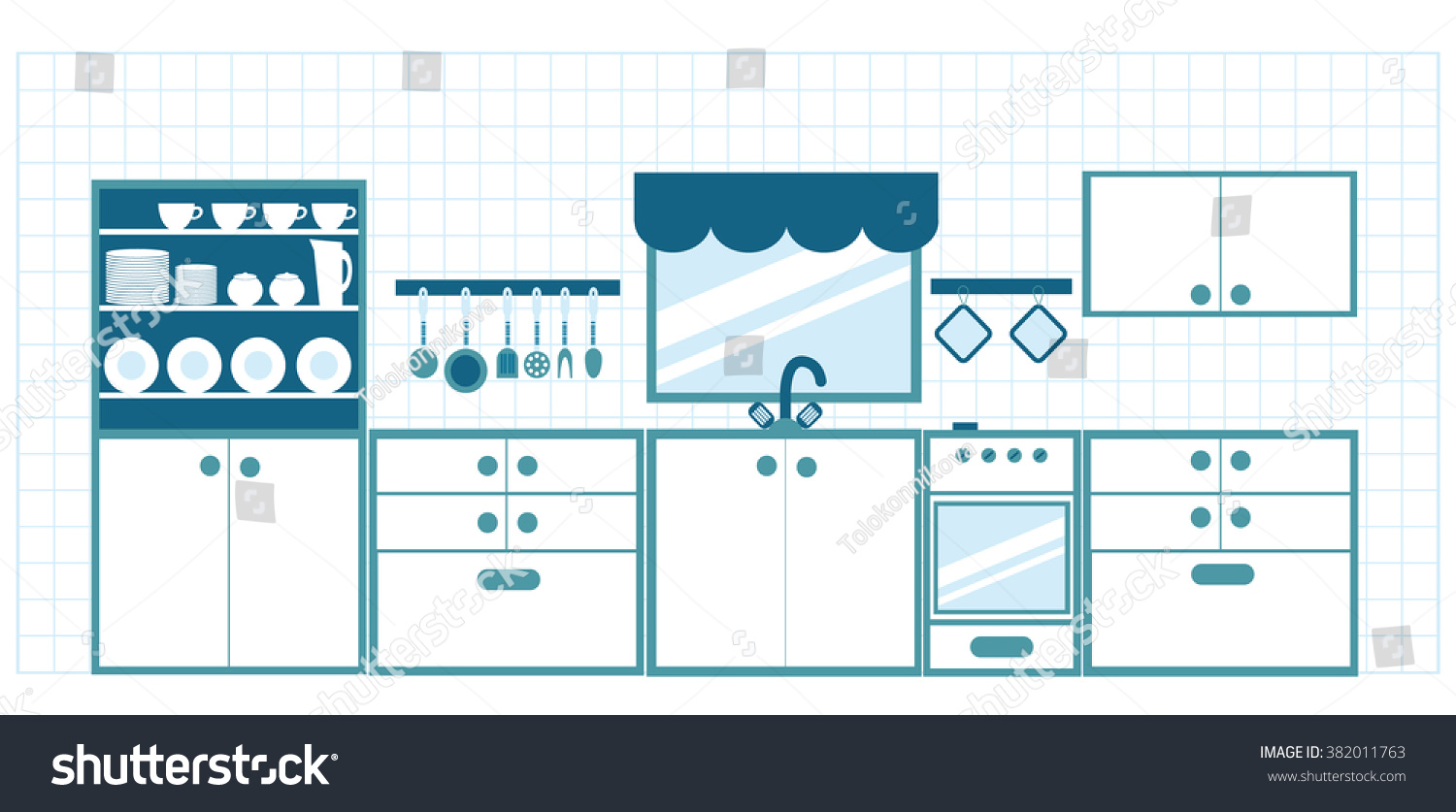 Kitchen Furniture Blue Tones Different Dishes Stock Vector 382011763 ...