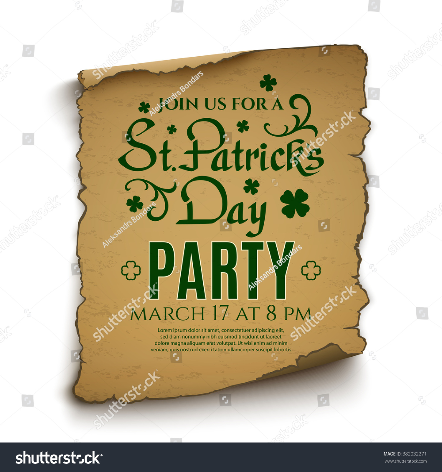St patricks day party invitation poster stock vector 382032271 st patricks day party invitation poster stock vector 382032271 shutterstock stopboris Image collections