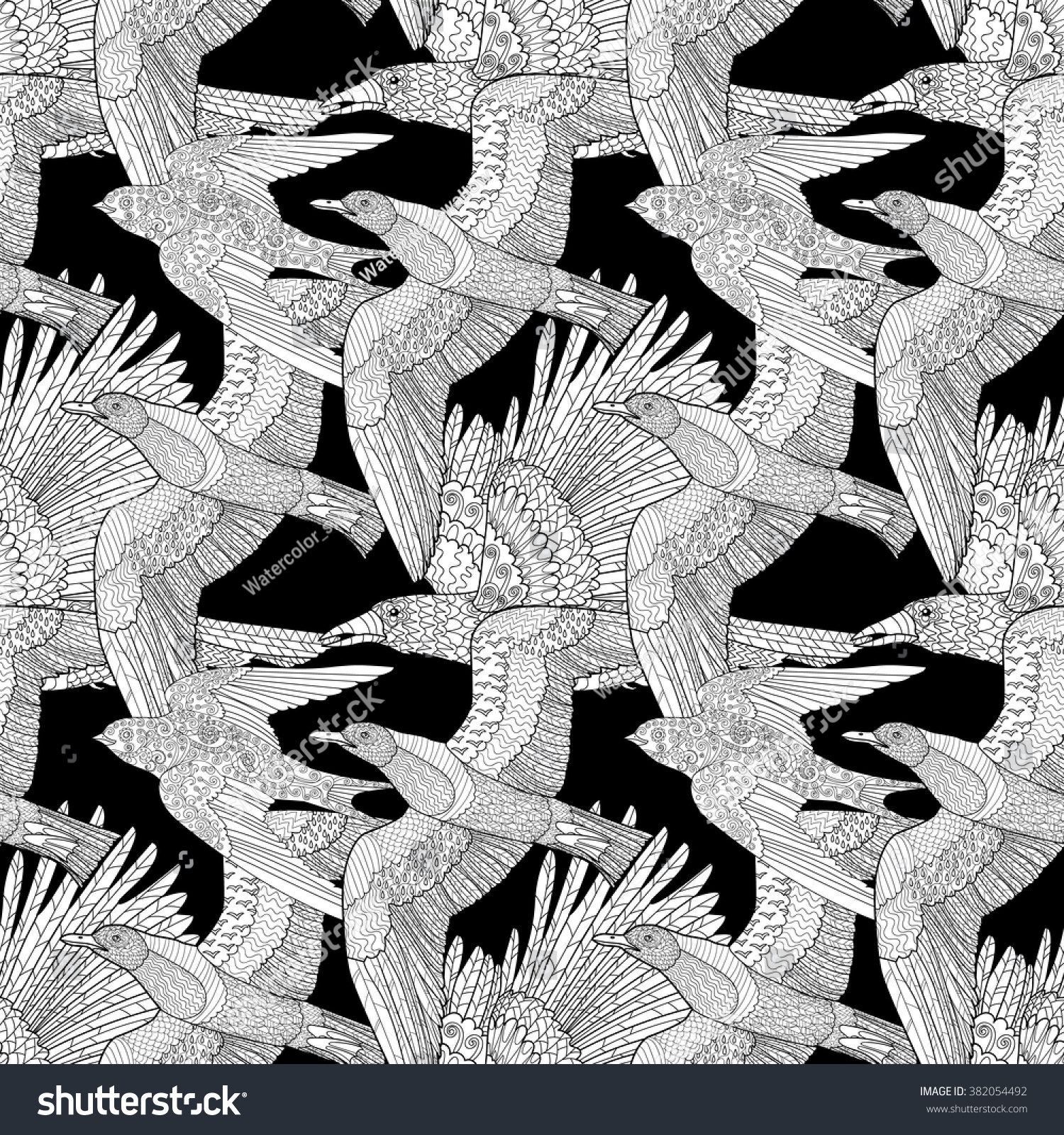 seamless pattern flying ravenseagull swallow high stock vector