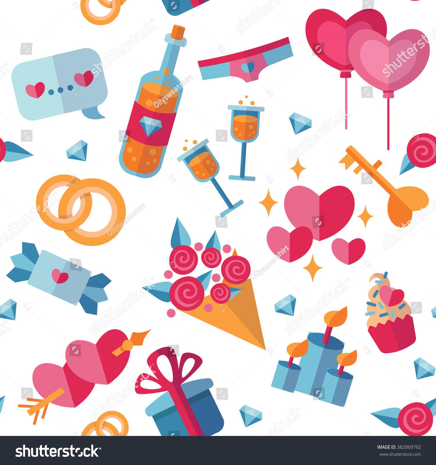 Wedding Romantic Relationships Flat Objects Seamless Stock ...