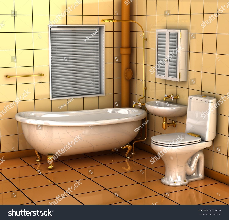 Bathroom Bath Toilet Wash Basin 3 D Stock Illustration 382070404 ...