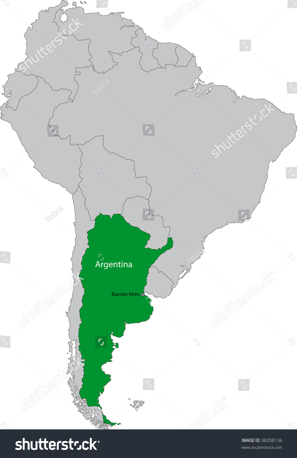 Location Argentina On South America Continent Stock Illustration - Argentina map continent
