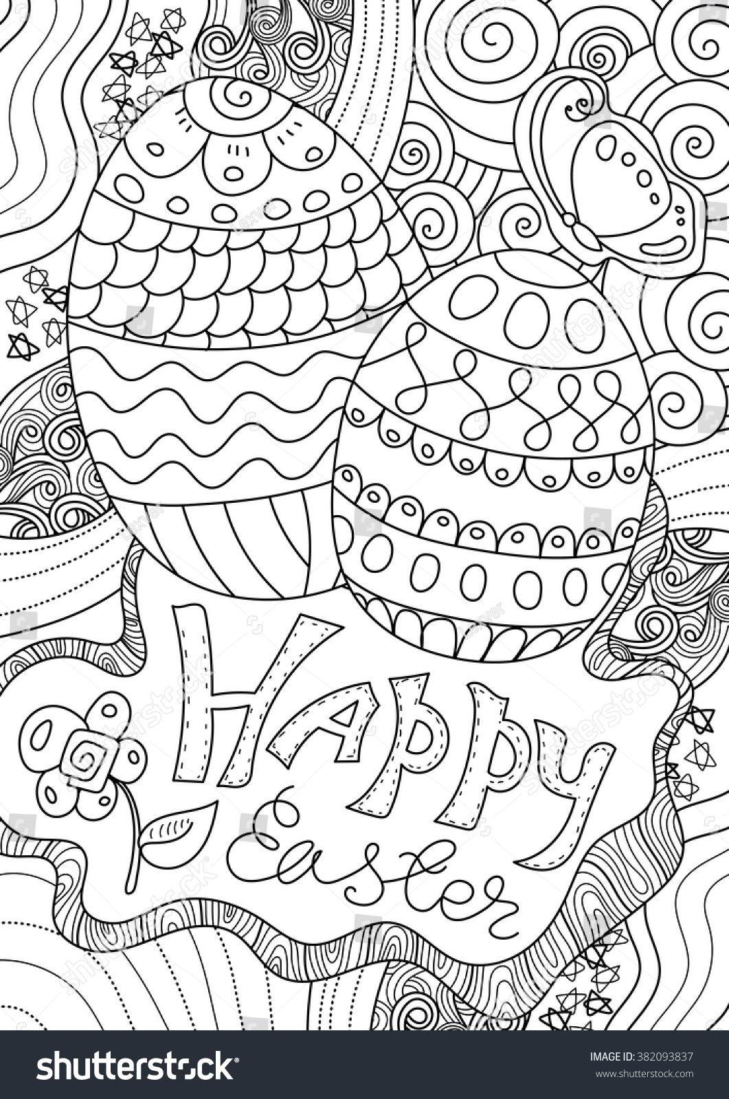 Happy Easter Coloring Book Page For Adult And Kids A4 Format
