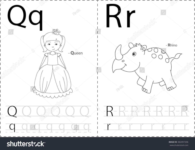 Cartoon Queen Rhino Alphabet Tracing Worksheet Stock Illustration ...