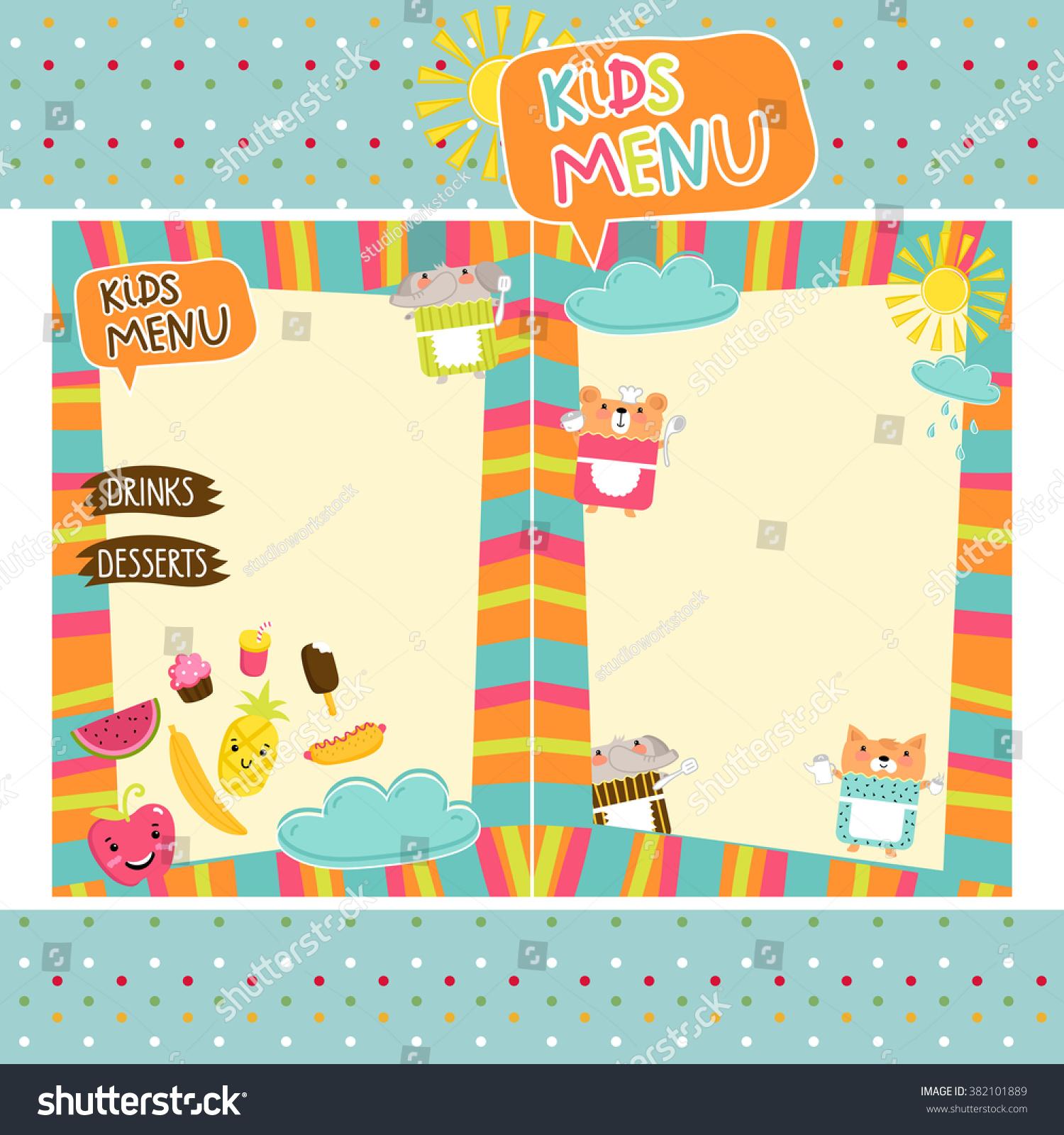 Kids Menu Template Design Stock Vector 382101889 - Shutterstock