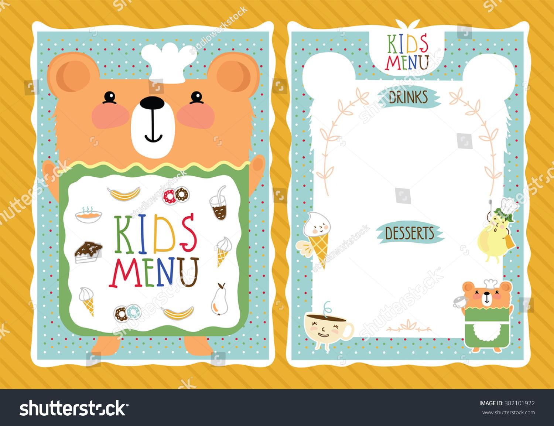 Perfect Stock Vector Kids Menu Kids Menu Template Kids Food Kids Meal Kids  Restaurant Colorful Kids Meal Menu 382101922