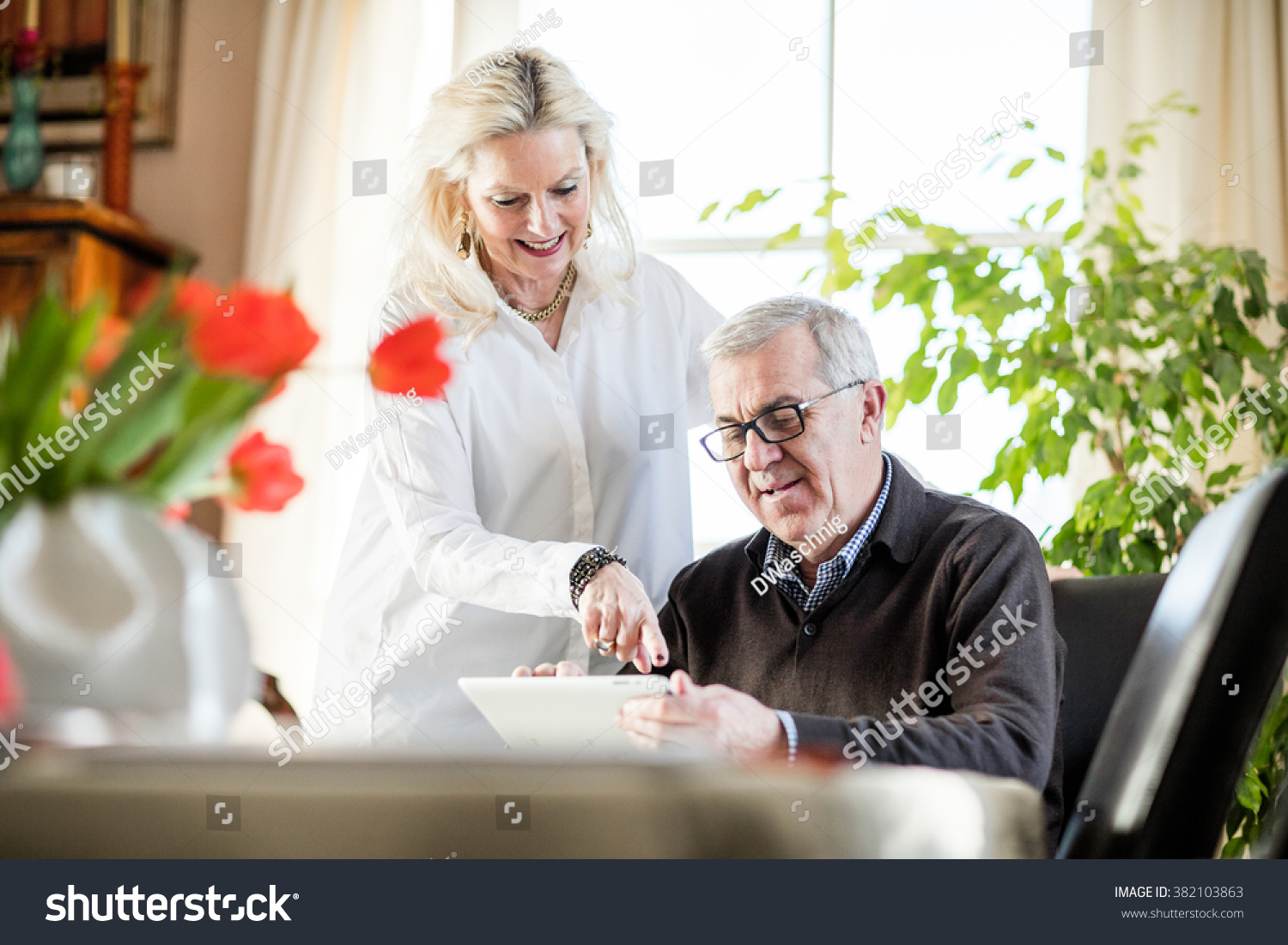 Older Couple Having Fun Smiling While Stock Photo Edit Now 382103863