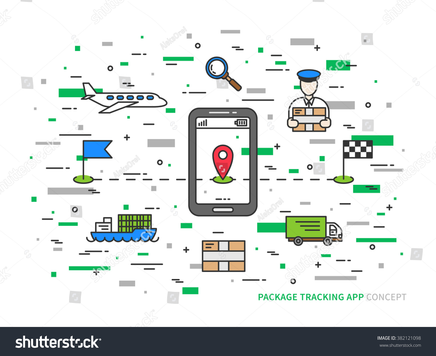 Vector Package Tracking Colorful Linear Illustration Stock