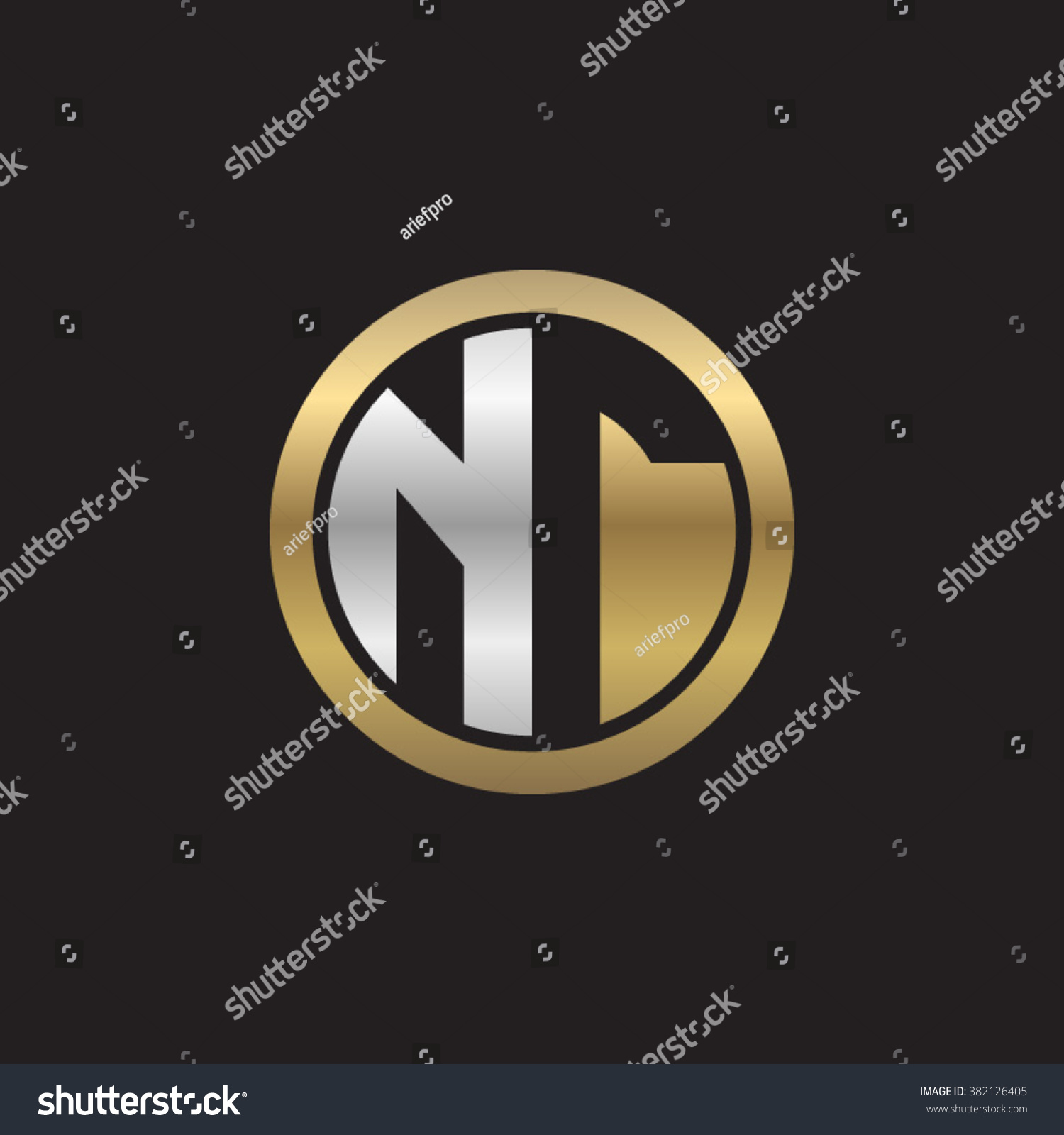 Nt Initial Letters Circle Elegant Logo Stock Vector Royalty Free