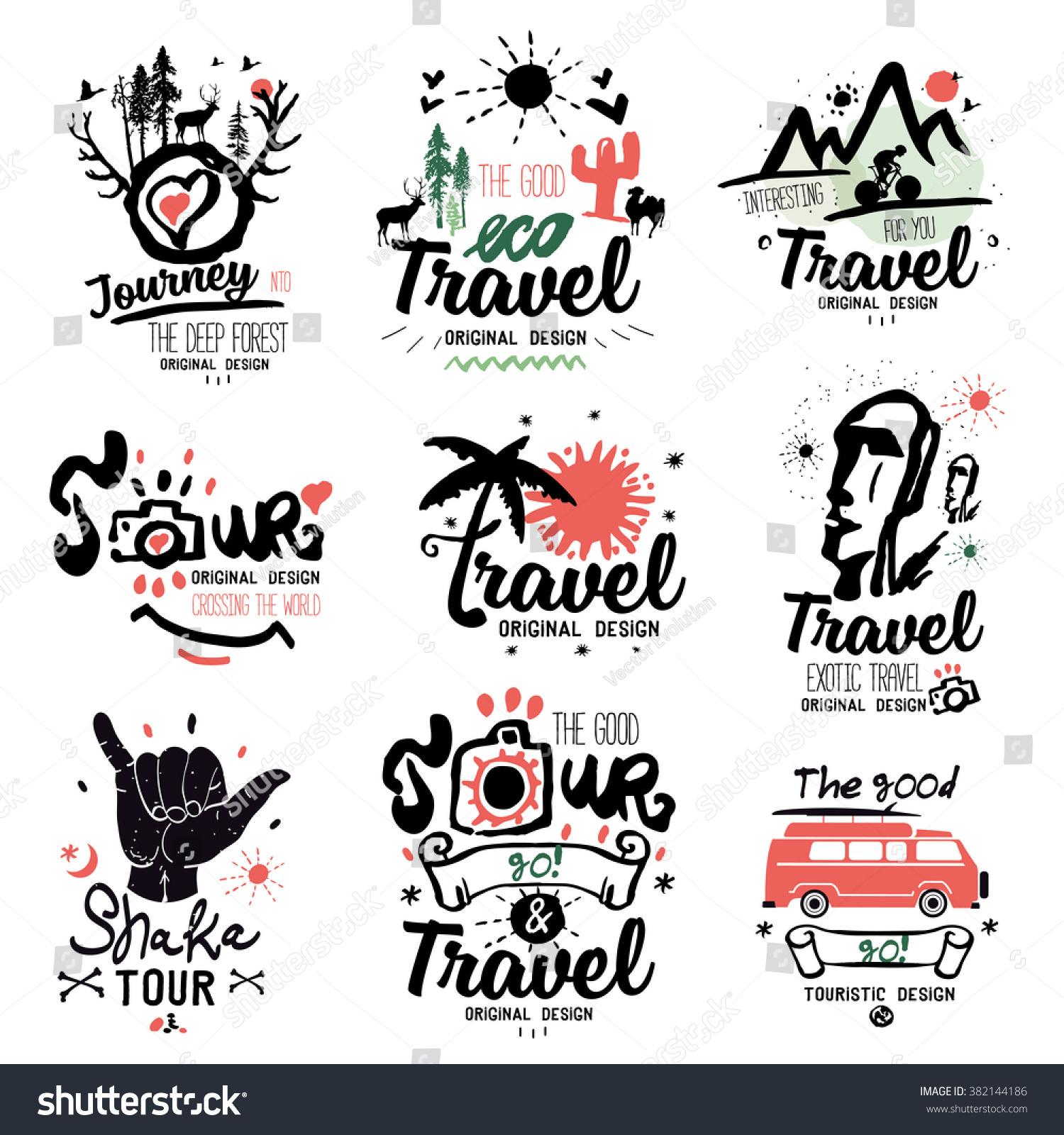 Travel Logo Tour Logo Tourist Handmade Stock Vector Royalty Free