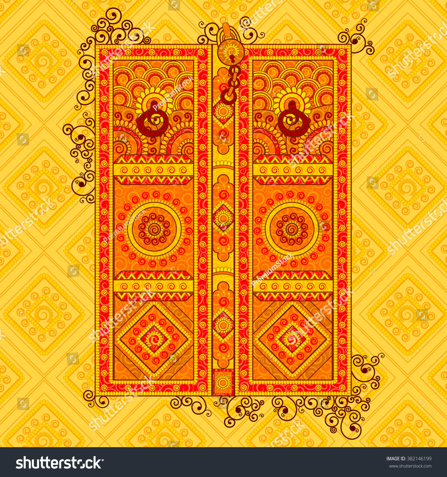 Rajasthan Royals Theme Song Free Download: Vector Design Traditional Door Indian Art Stock Vector