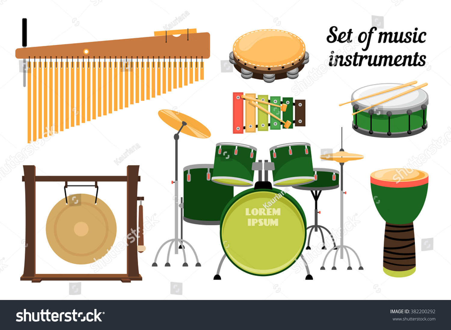 collection percussion instruments gong drum tambourine stock vector