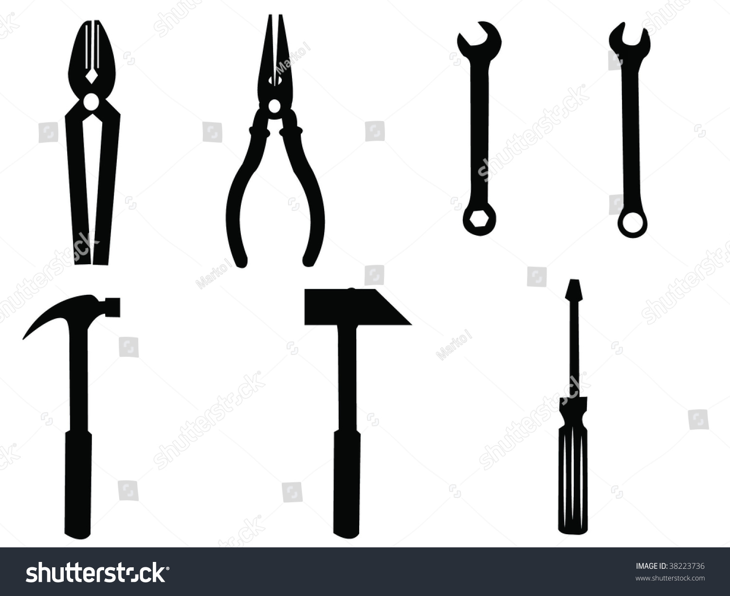 Fixing Tools Vector Silhouettes - 38223736 : Shutterstock