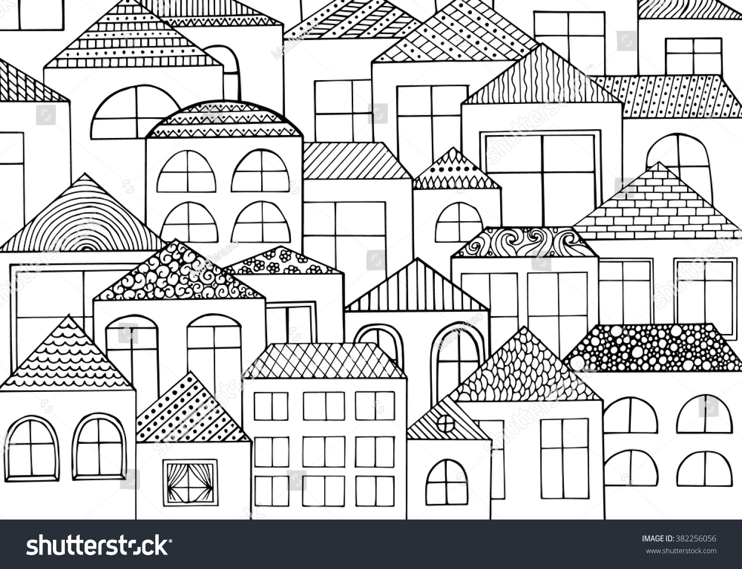 Hand Drawn Ink Background Houses Homes Stock Vector (Royalty Free ...