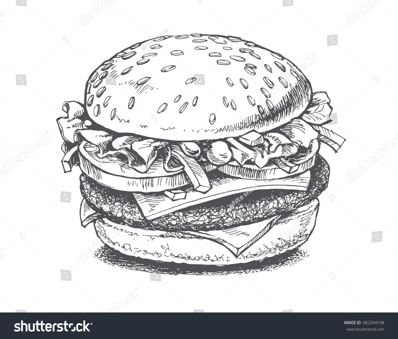 Illustration Burger Vector Drawing Stock Vector 382294198