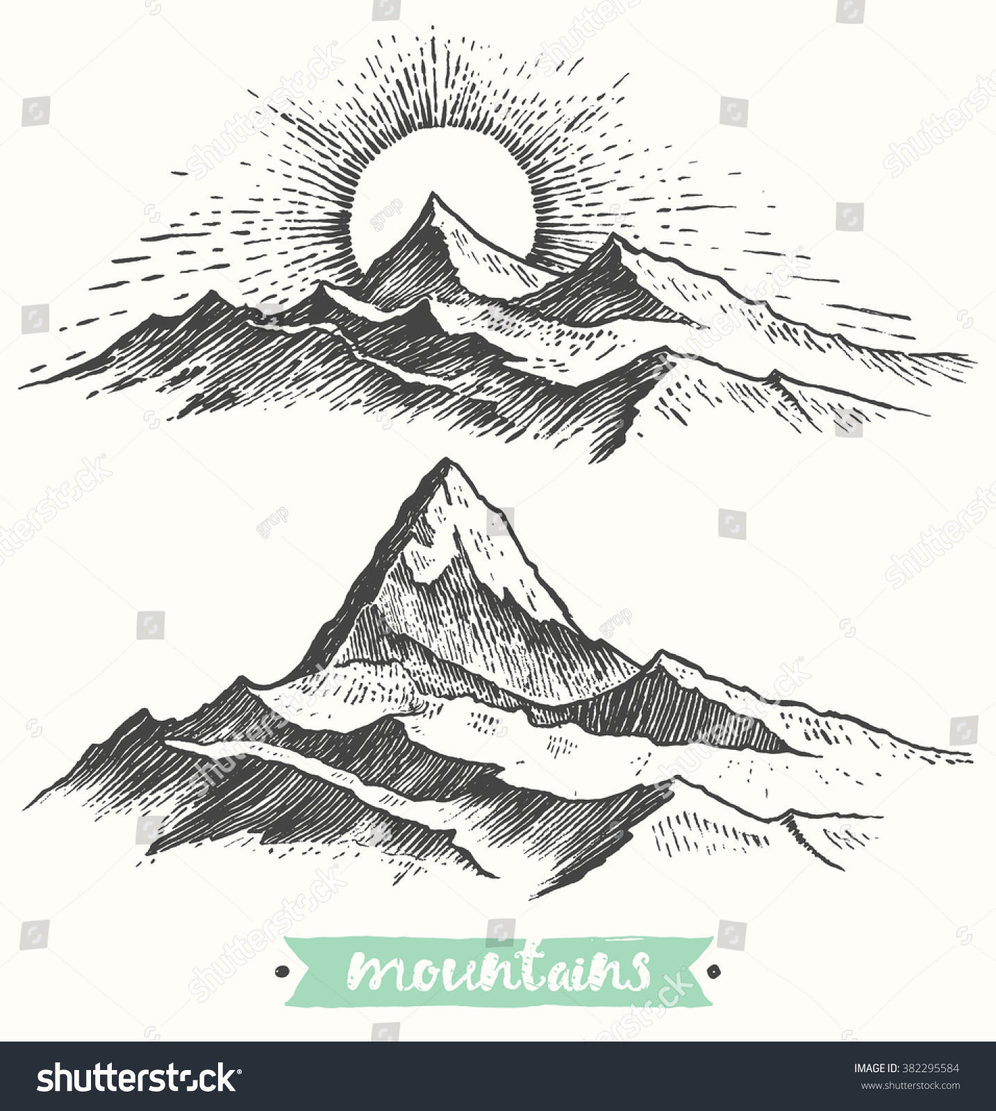 Line Drawing Sunrise : Sketch mountains engraving style hand drawn stock vector