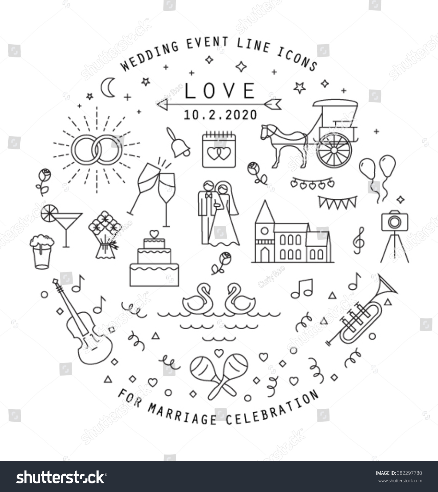 Wedding line icons collection can be stock vector 382297780 wedding line icons collection can be stock vector 382297780 shutterstock stopboris Images