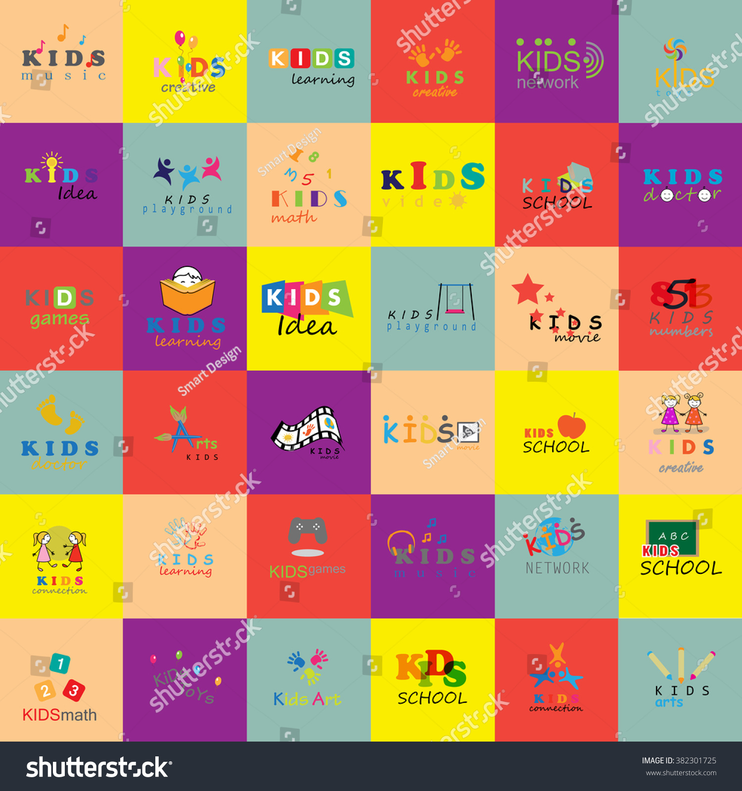 Children Icons Set Isolated On Mosaic Background Vector Stock Vector