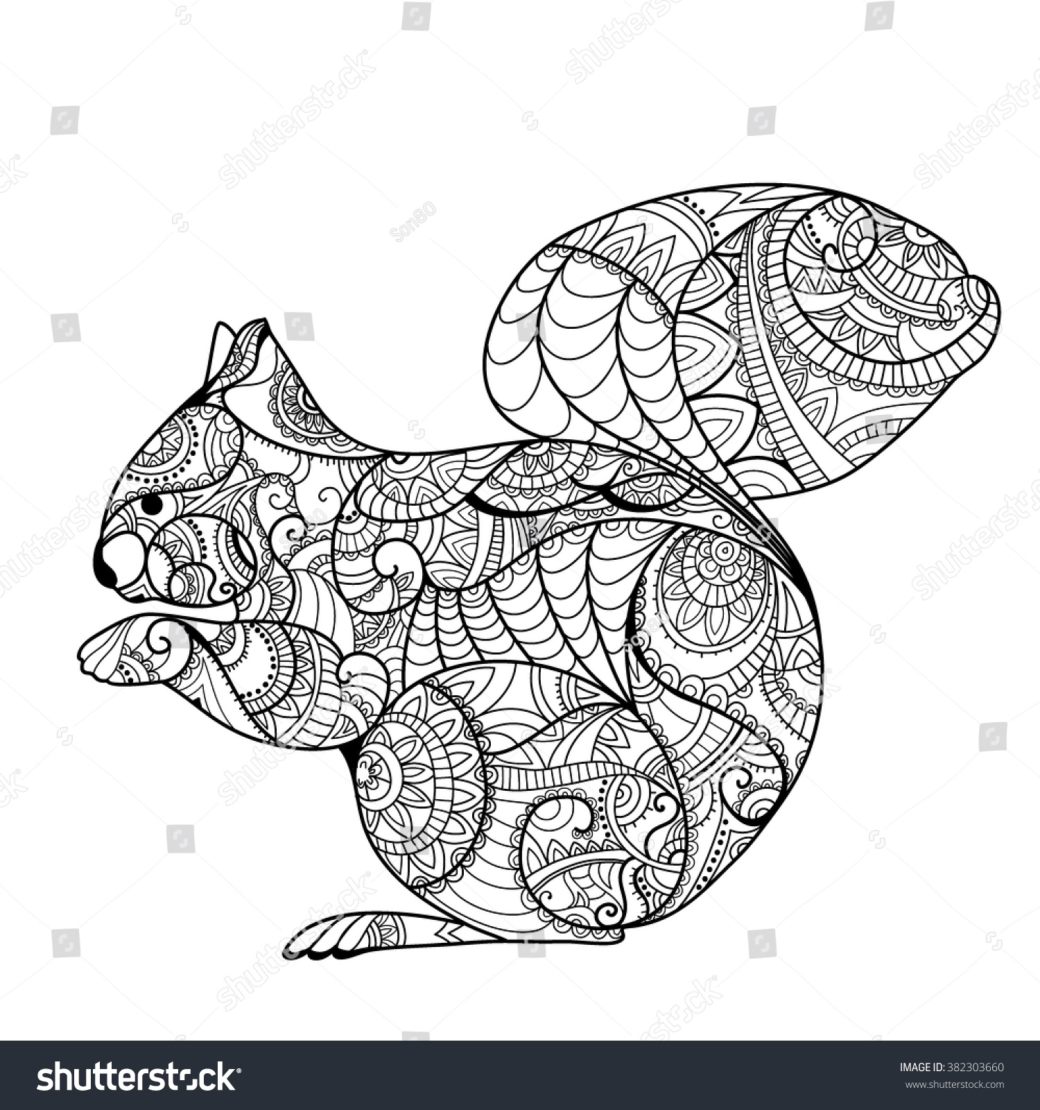 squirrel coloring book hand drawn funny stock vector 382303660