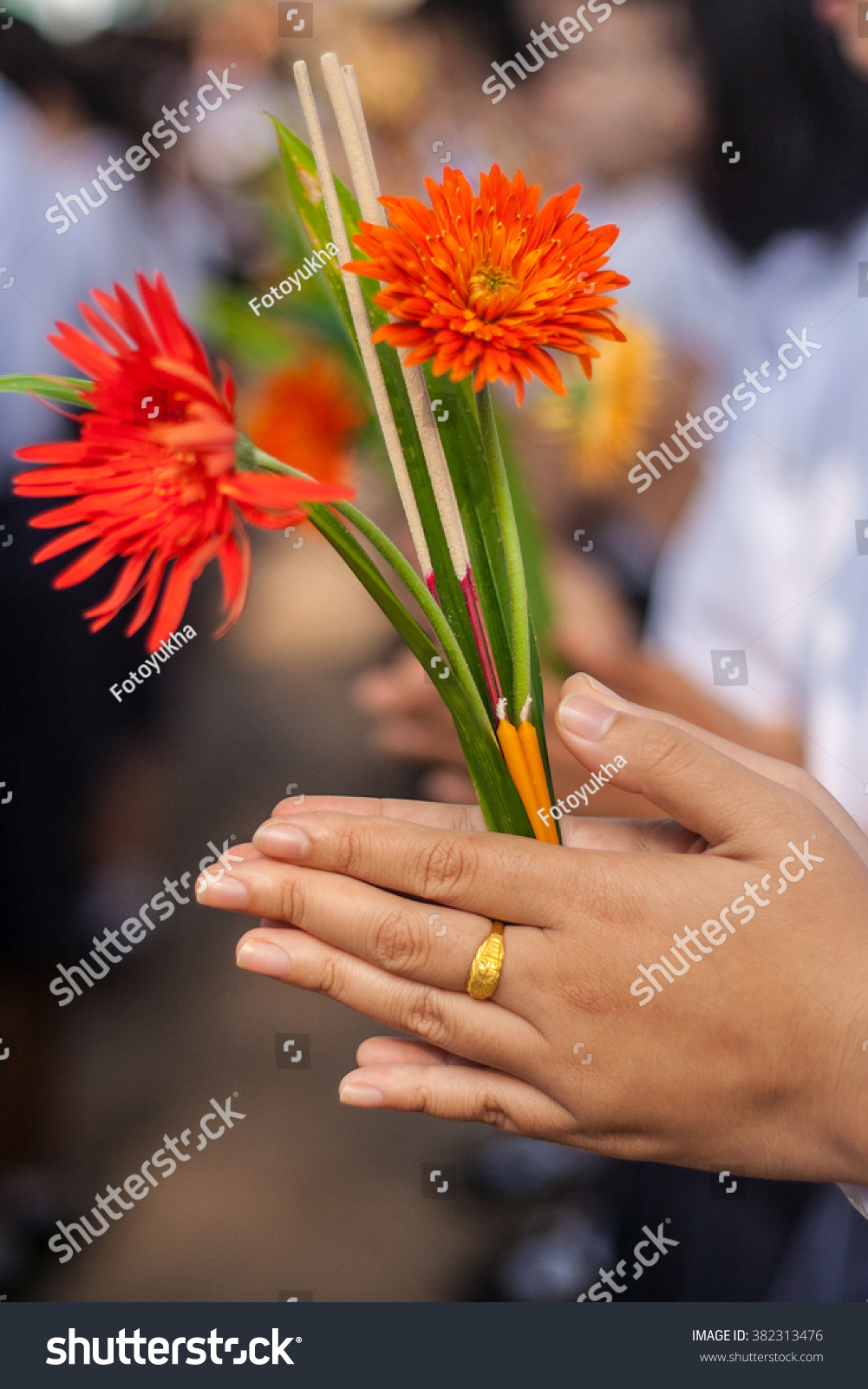 Boys Girls Holding Flower Incense Candles Stock Photo (Edit