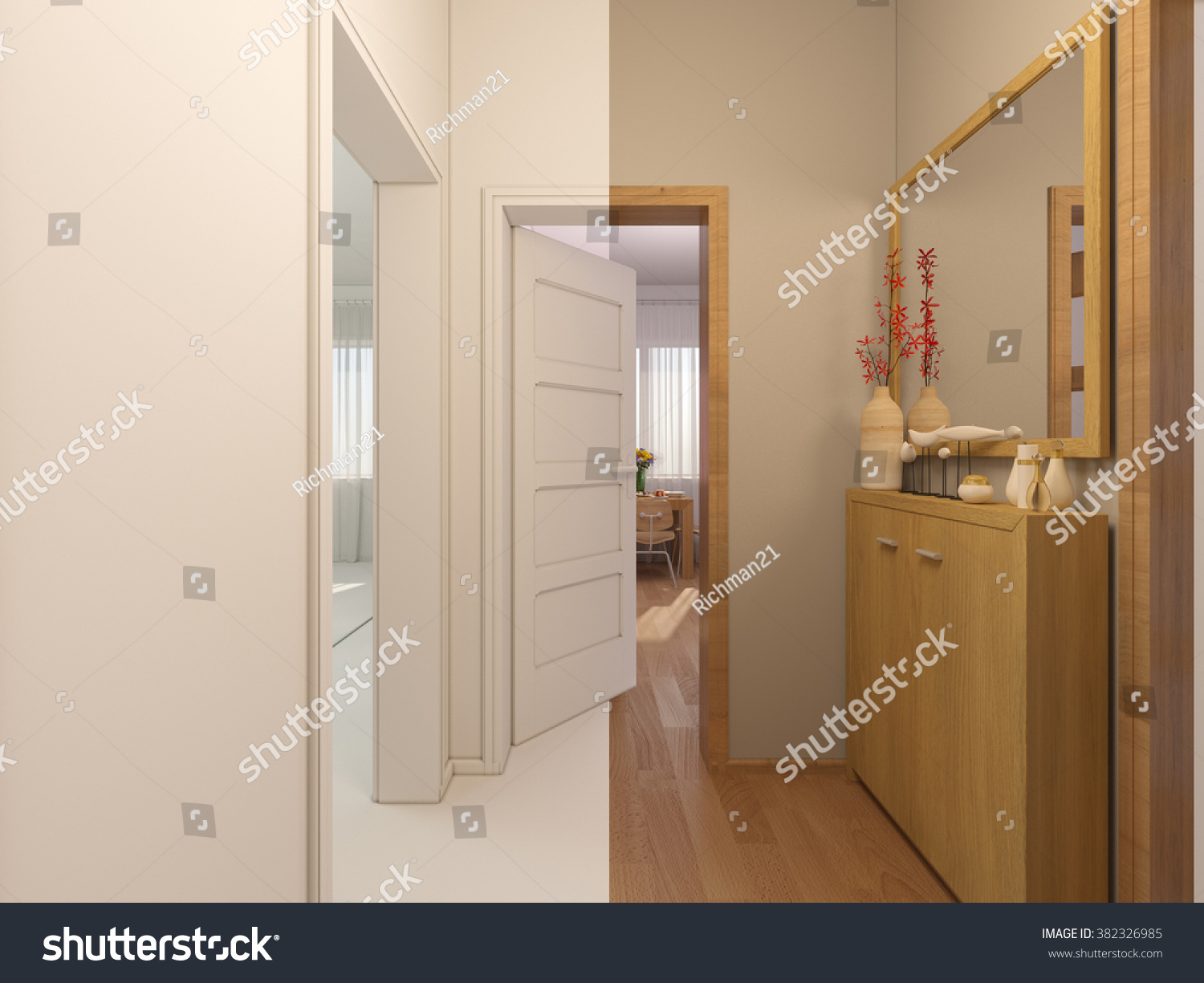 3D Render Collage Of Interior Design Entrance Hall In A Studio Apartment Modern Minimalist