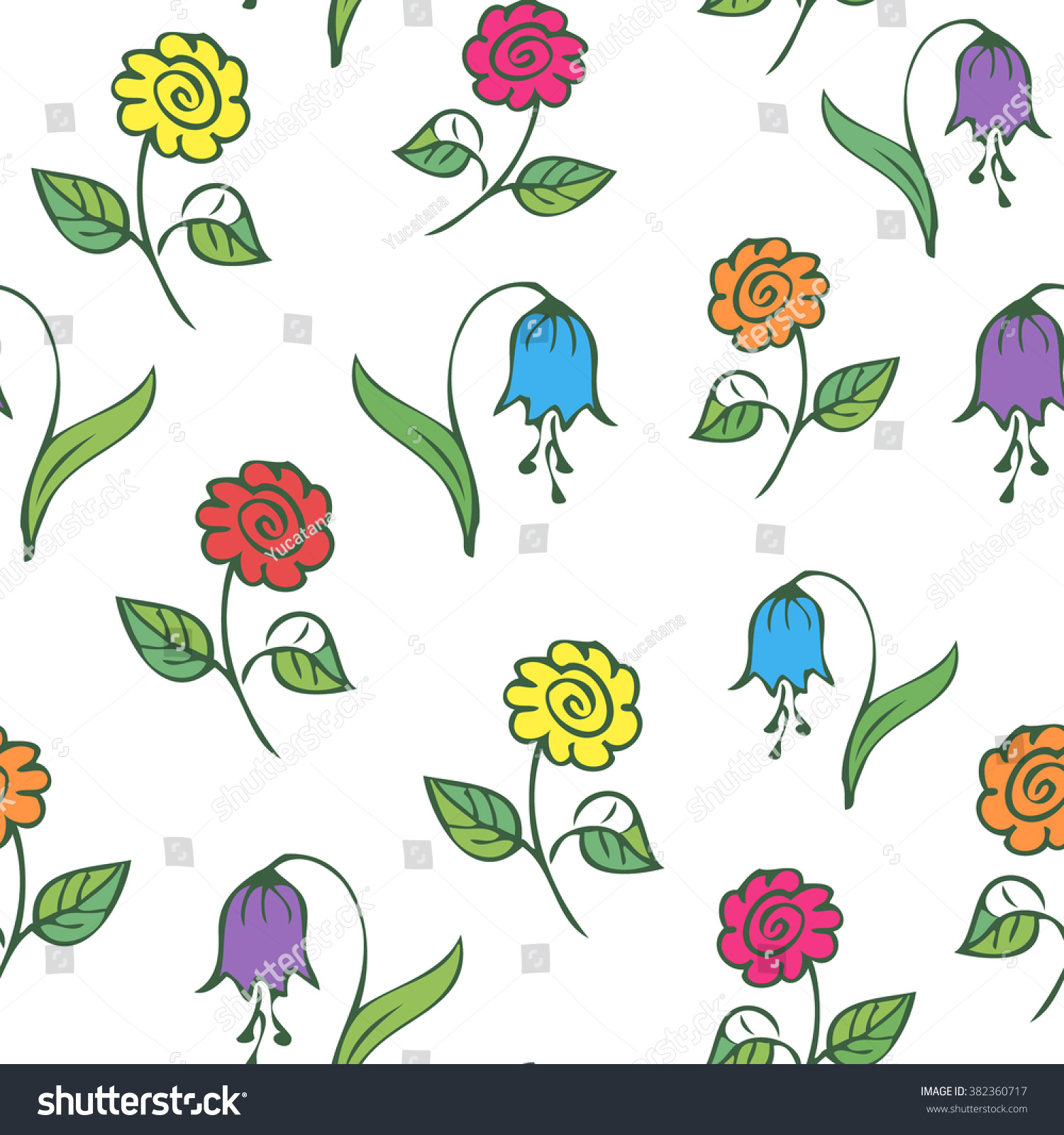 Seamless Minimalist Floral Pattern Doodle Colorful Nature