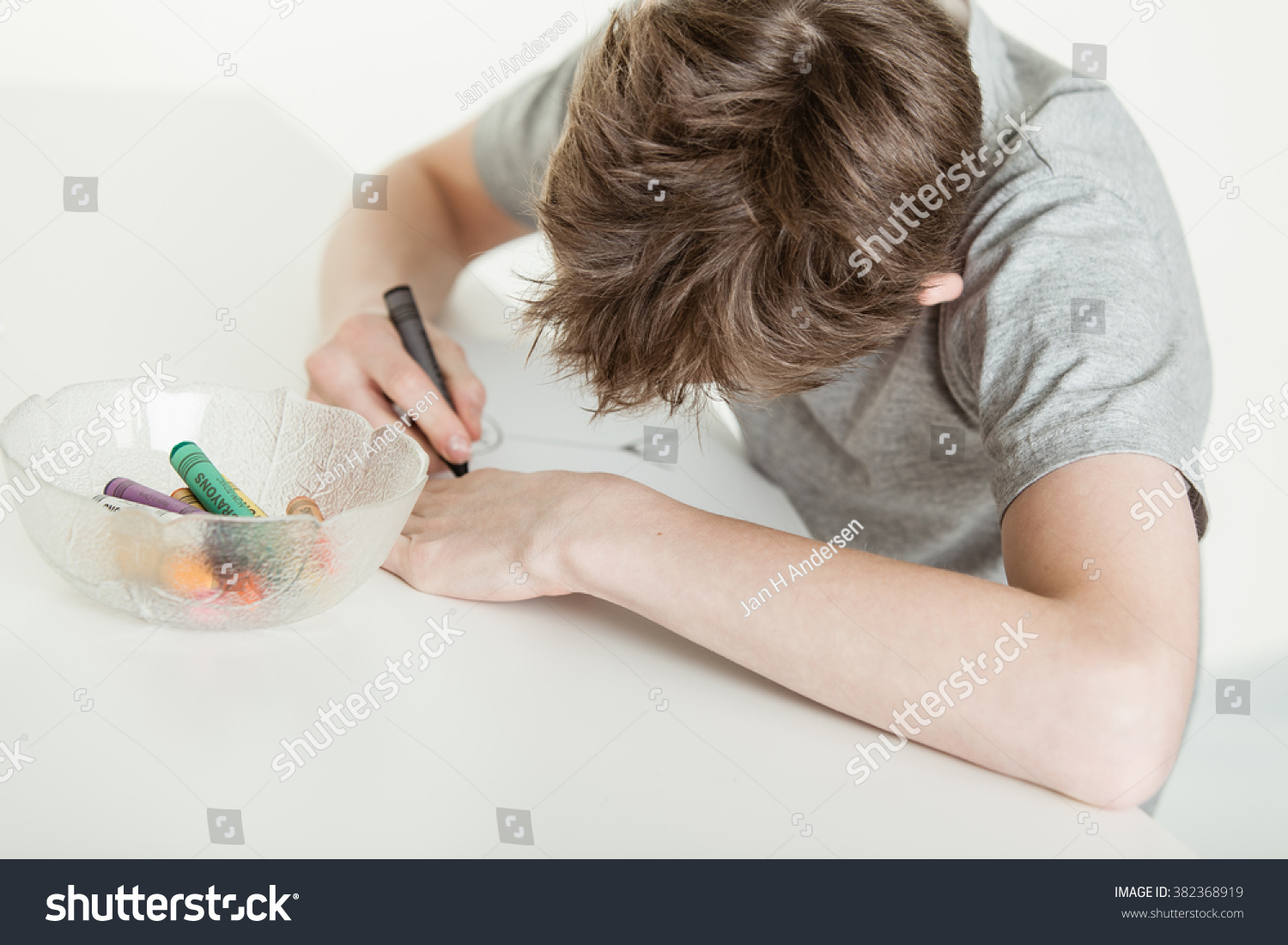 Young Boy Coloring His Drawing On Stock Photo Royalty Free 382368919