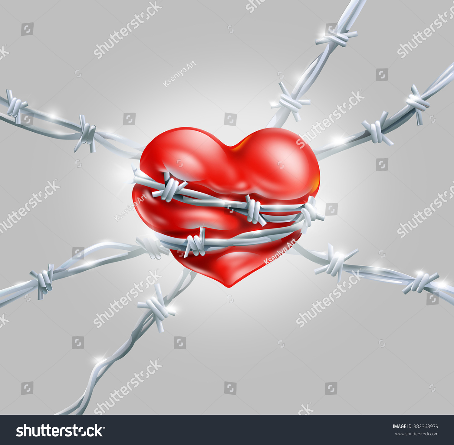 Red Heart Wrap Enclosed Barbed Metal Stock Illustration 382368979 ...