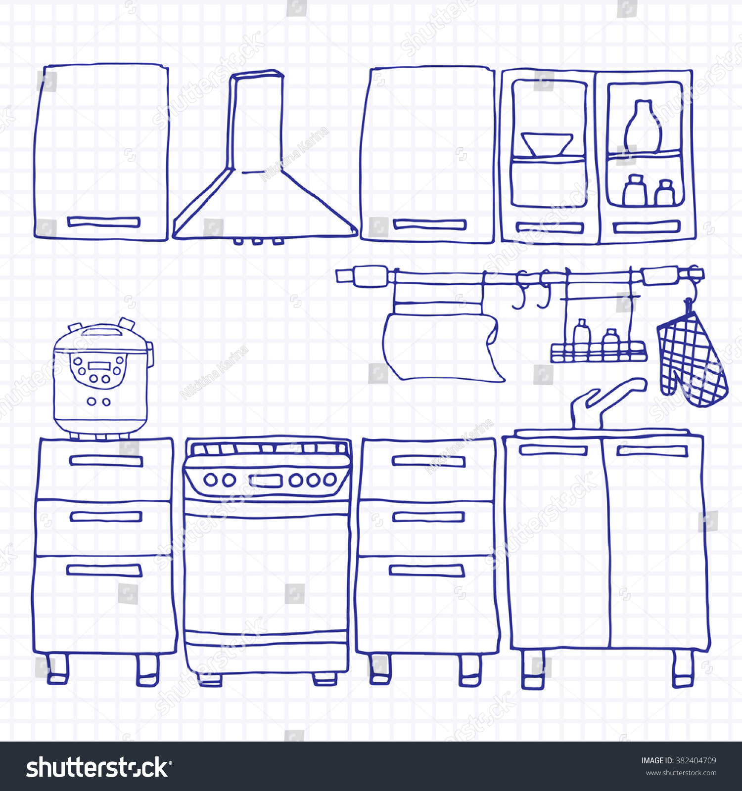 Simple Kitchen Drawing simple kitchen interior hand drawn style stock vector 382404709