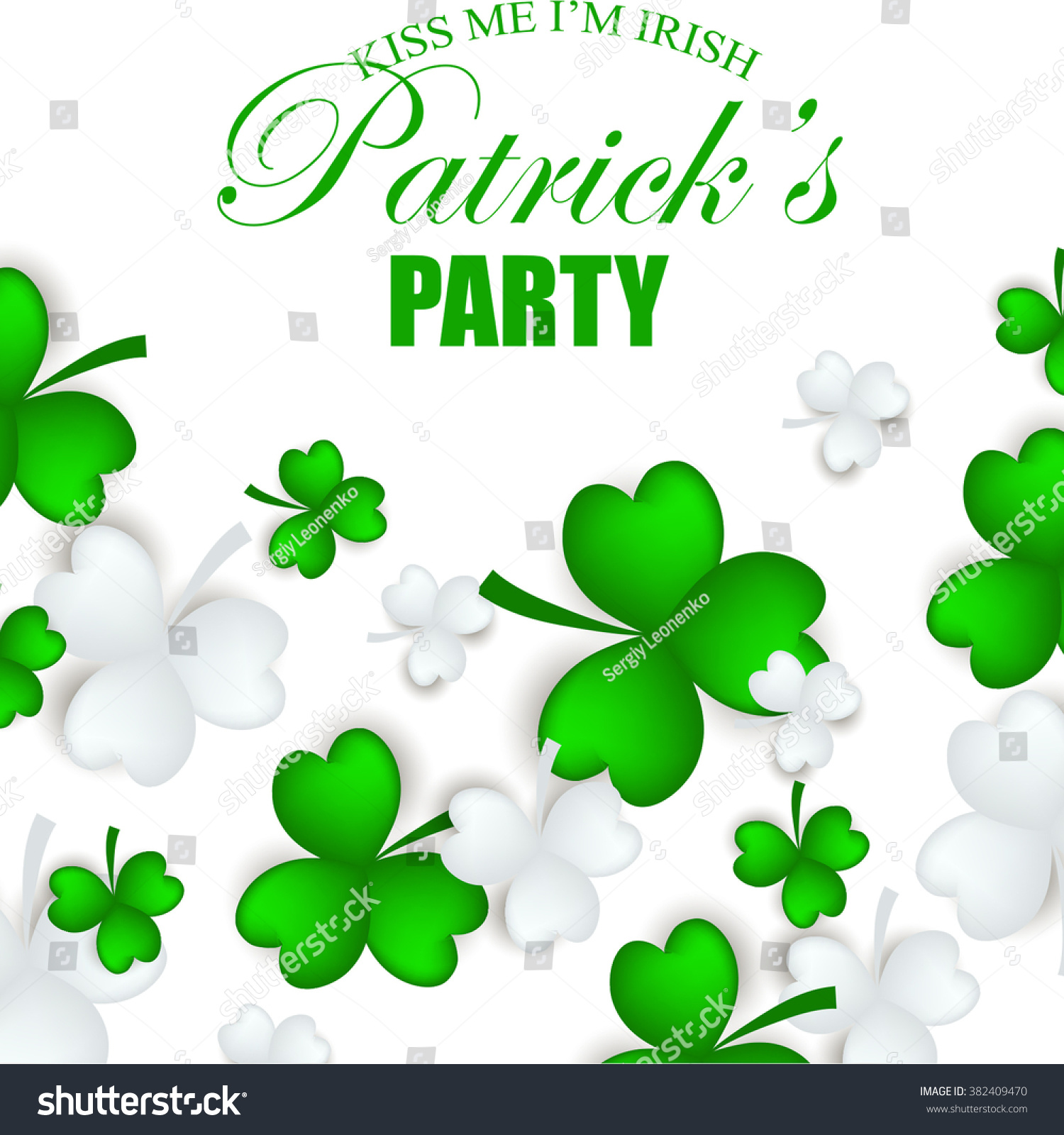 st patricks day shamrock leaves border stock vector 382409470